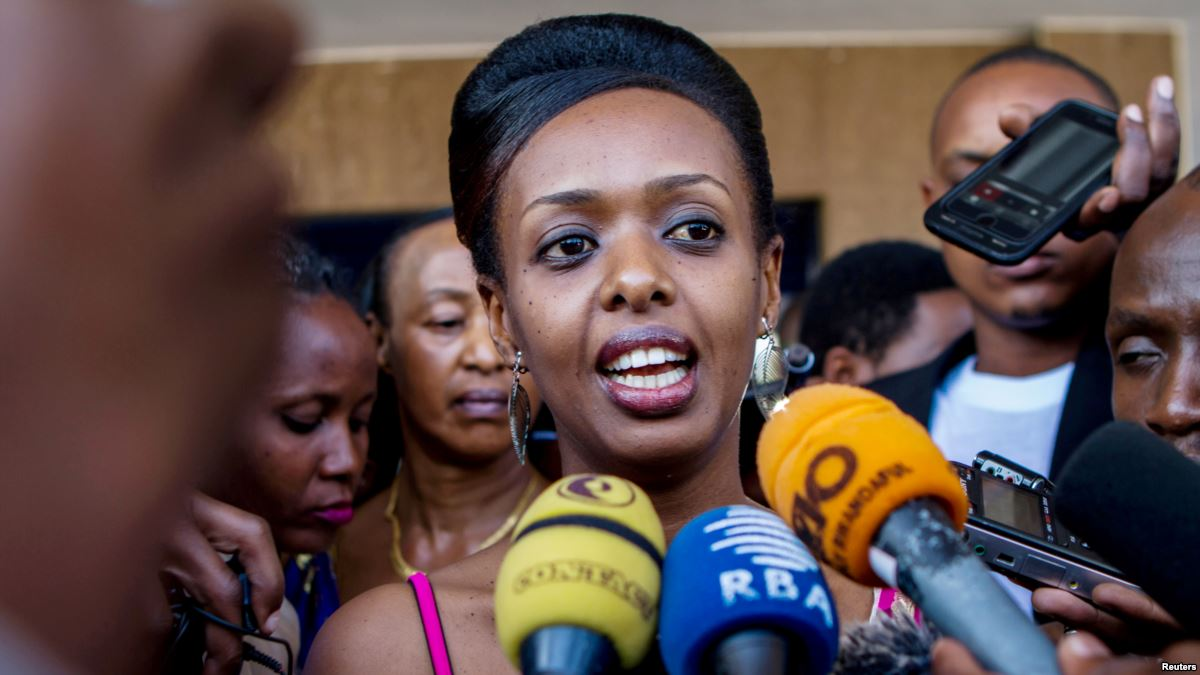 Diane Rwigara during a press briefing in Rwanda last year