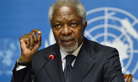 Kofi Annan at the United Nations Office in Geneva.
