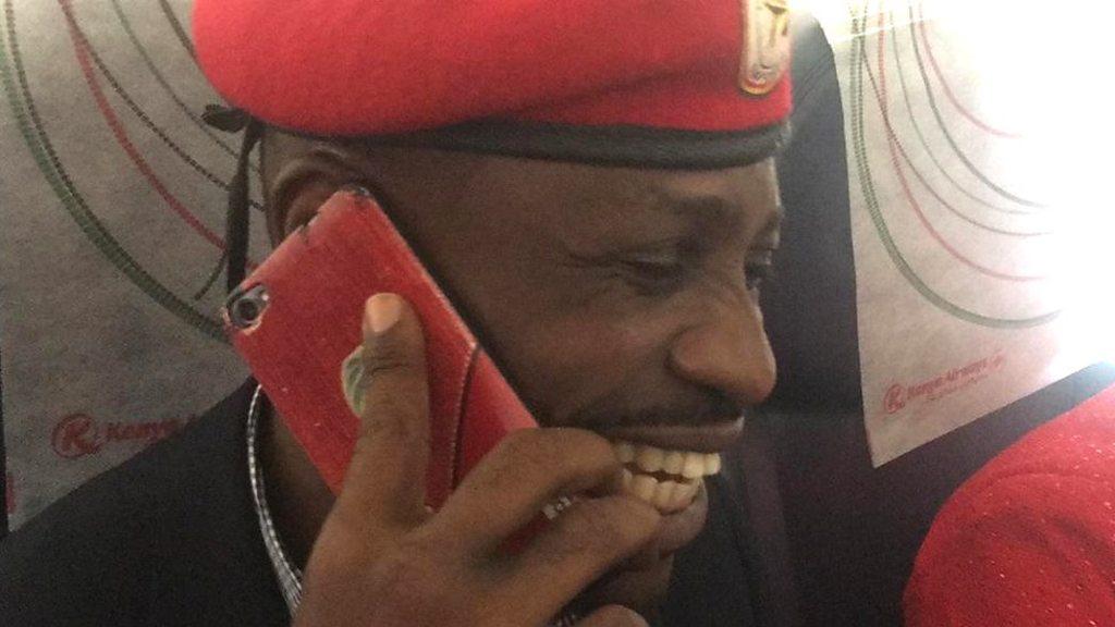 Kyadondo East MP Robert Kyagulanyi alias Bobi Wine has landed at Entebbe Airport aboard Kenya Airways Thursday afternoon September 20 (FILE PHOTO)