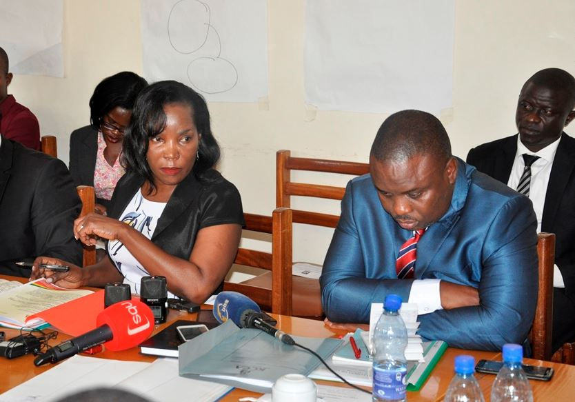 KCCA ED Jennifer Musisi and Lord Mayor Erias Lukwago (R) appearing before the Presidential Committee on TuesdayOOO