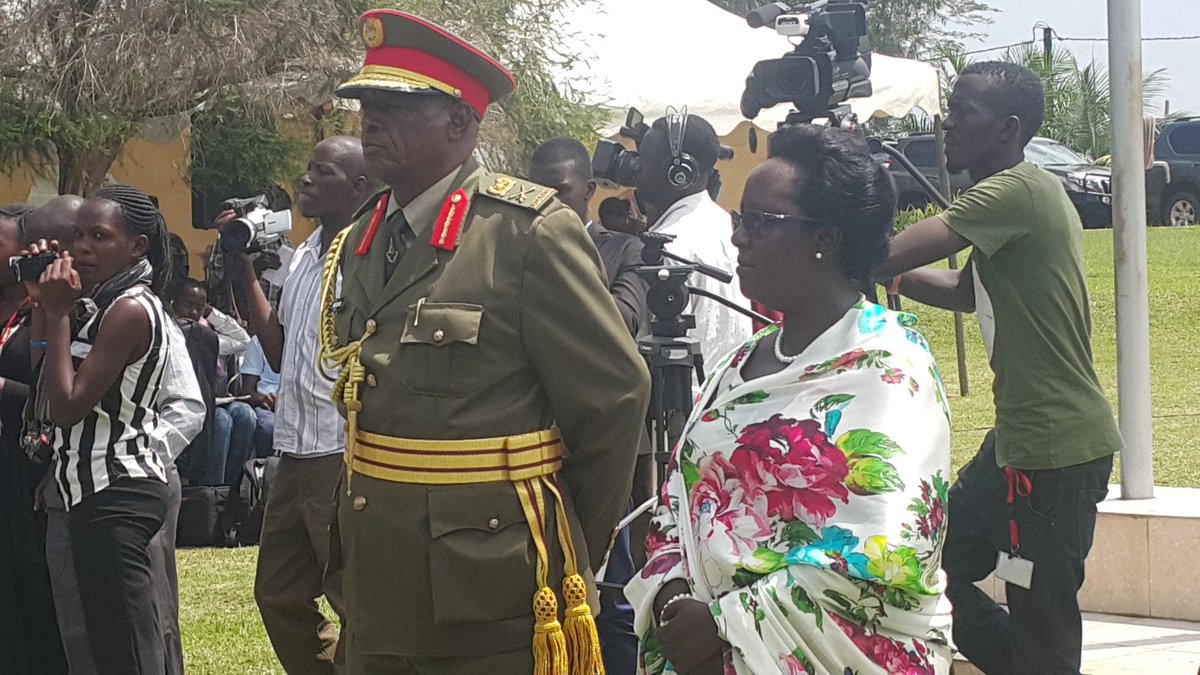 Lt Gen Joram Mugume accompanied by his wife, after was decorated in May, 2016 (FILE PHOTO)