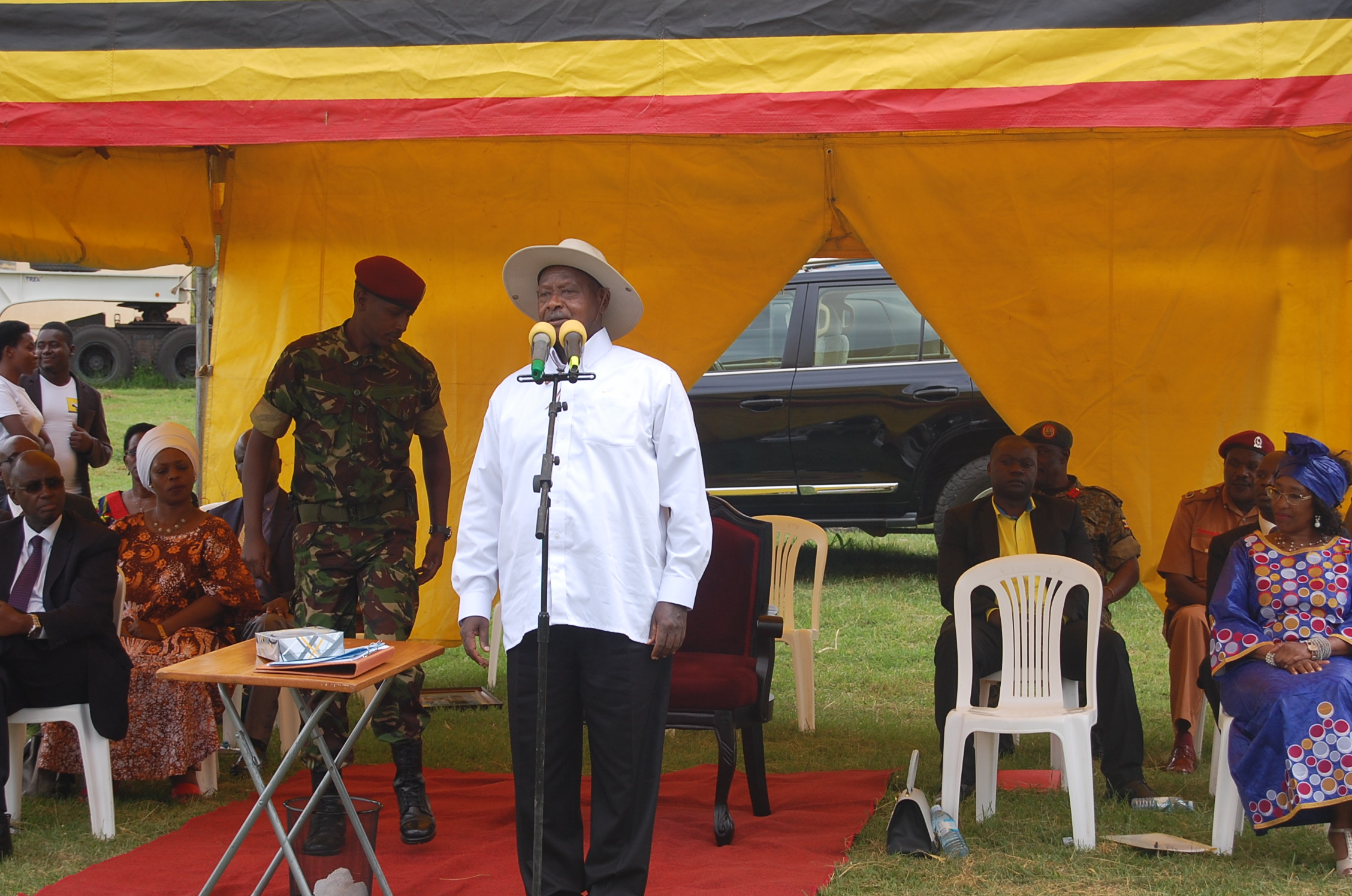 Museveni speaking on friday at the function on friday