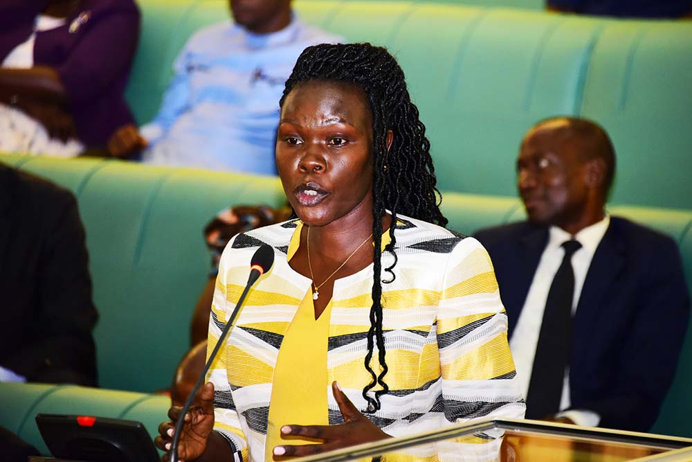 Investment State Minister, Hon. Evelyn Anite makes a submission on Uganda Telecom Limited management in Parliament recently. (PHOTO/File)