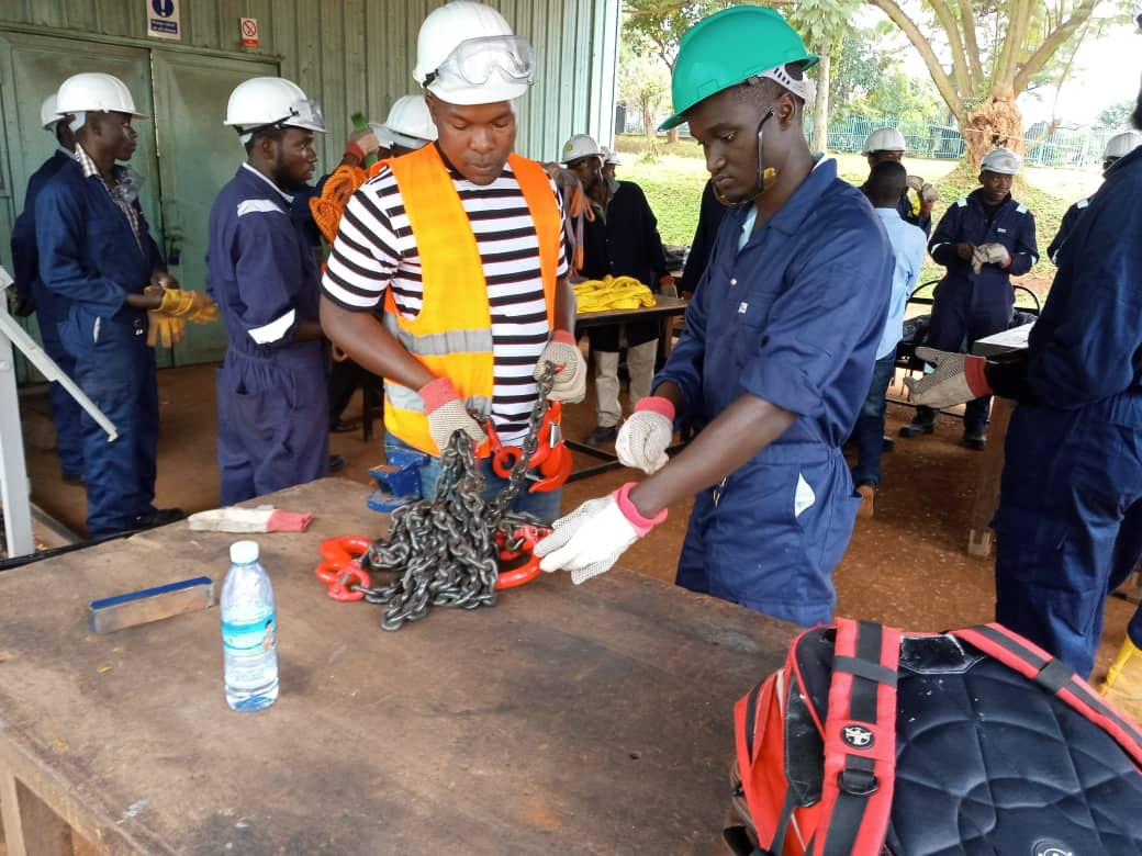 Some of the beneficiaries of the GIZ-Skill up for Construction-free training Project, at the Career Fair organised by Solid Rock Life and Business at Nakawa Vocational Training Centre.(NVTI) on 4th September, 2019. (PHOTO/Javira Ssebwami)