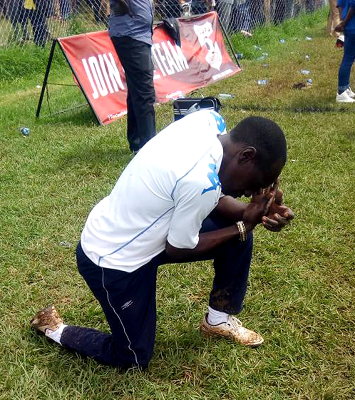 Kibuli SS team doctor Jack Walugembe was too tense to follow the penalties. Courtesy.