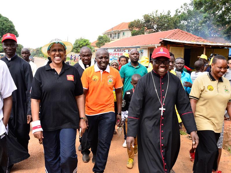 Bishop Kirabo, Tourism PS Doreen Katusiime and Minister Kasirivu Atwooki lead the Martyrs Day Walk: