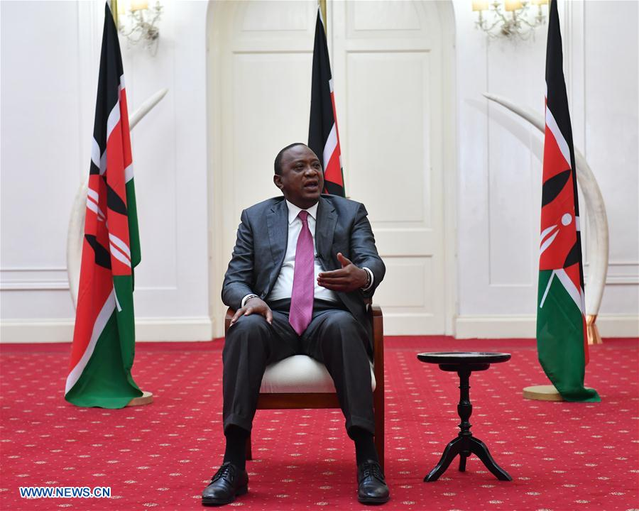 Kenyan President Uhuru Kenyatta speaks during an interview with local and Chinese media in Nairobi, capital of Kenya, May 9, 2017. Uhuru Kenyatta said that the Belt and Road Forum for International Cooperation will inject strong vitality into the Africa-China cooperation. He will attend the forum scheduled for May 14-15 in Beijing, capital of China. (Xinhua/Sun Ruibo)