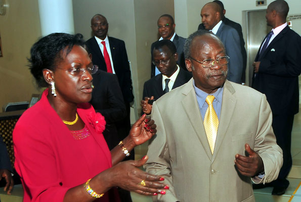Ms Bagyenda (left)  at a past function. Courtesy photo