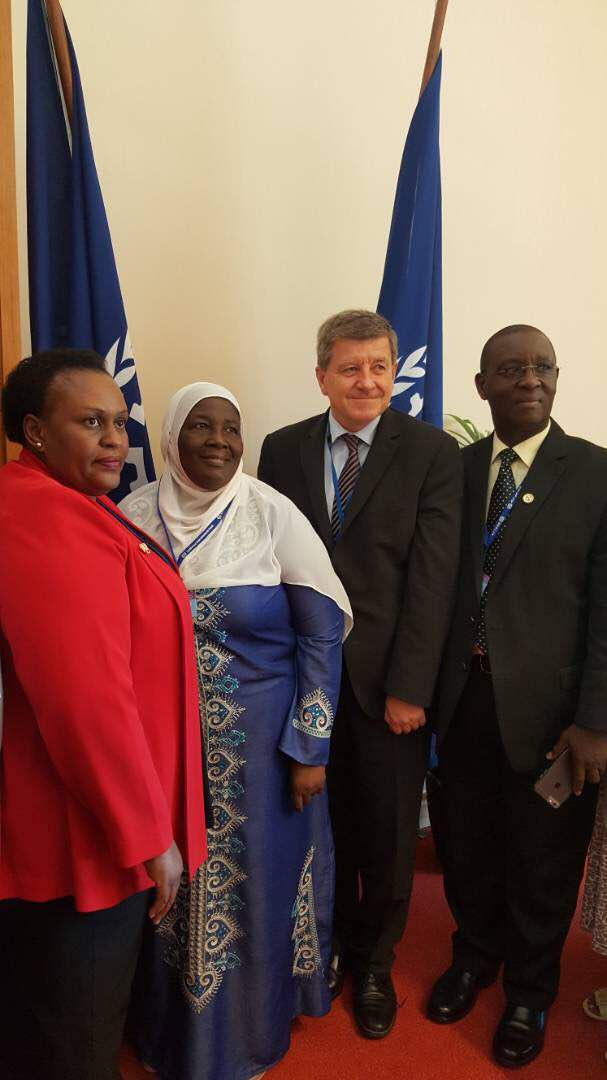 The ILO Director General Guy Ryder (2nd R) poses with Gender minister Janat Mukwaya (centre), Permanent Secretary Pius Bigirimana (right) and Justice Linda Mugisha of the Industrial Court after the meeting. Courtesy photo