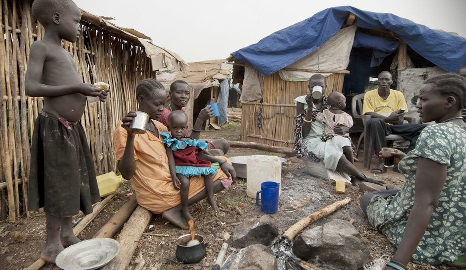 South Sudan refugees at one of the refugee camps in Uganda