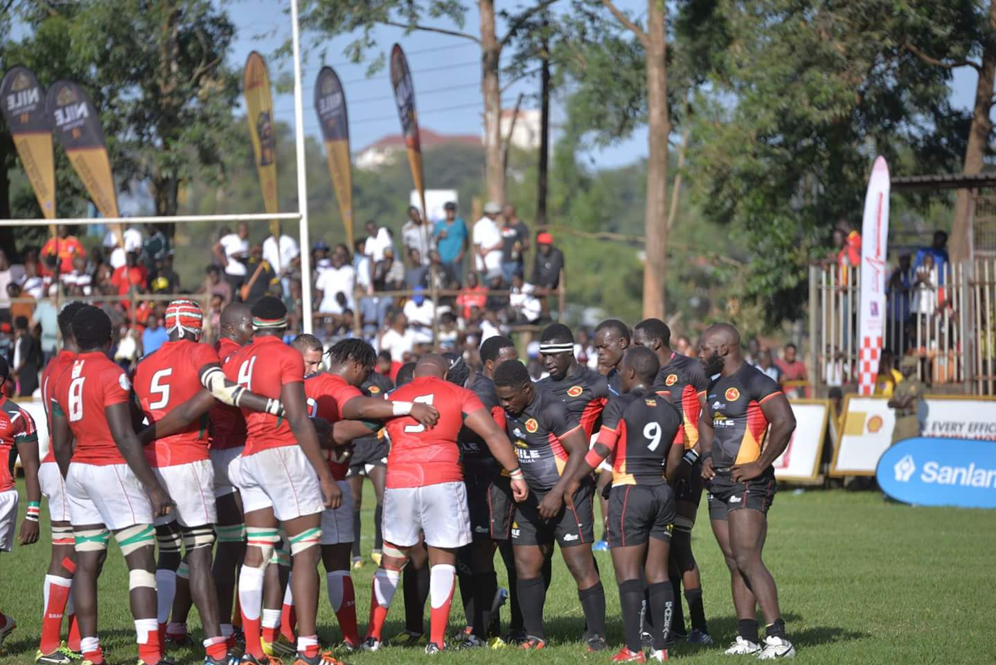 Uganda Rugby Cranes players greet Kenyan Simbas in Kampala after their 18-23 loss.