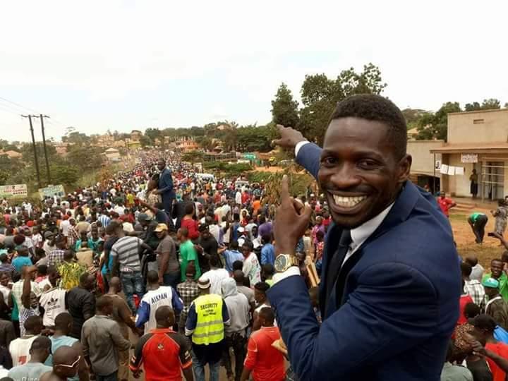 Musician Bobi Wine celebrates his victory.
