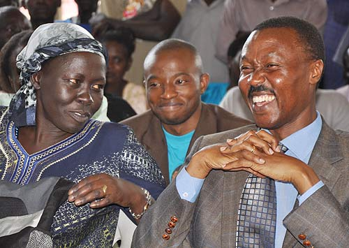 Gen Muntu (left) shares a light moment with his deputy Alice Alaso at a past function. Courtesy photo.