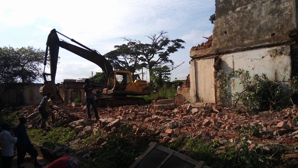A demolition exercise ongoing at St Luke Guest House in Gulu Municipality. Courtesy photo.