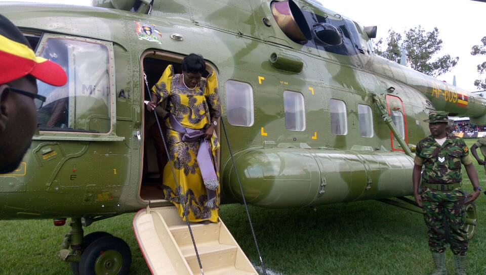 Kadaga disembarks from a chopper at Legends Rugby Grounds. Courtesy photo.