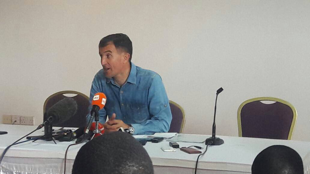 Micho adresses journalists at Kabira Country Club in Kampala this morning. Coutesy photo.