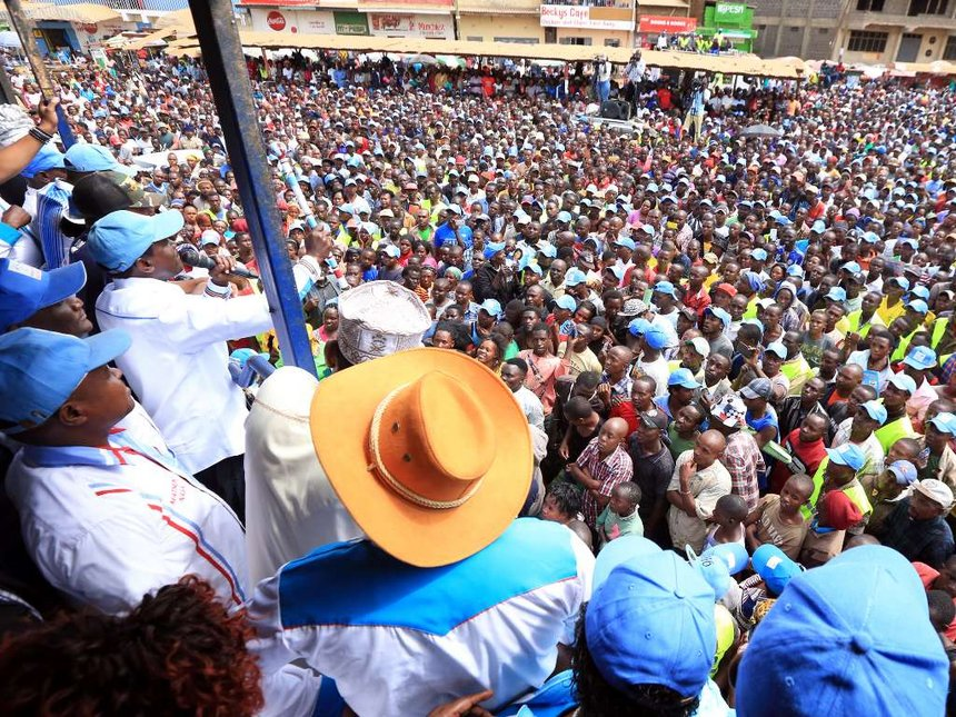 Raila Odinga at one of his campaign rallies recently. The NASA leader has procured high-tech vote protection gadgets to guard against vote rigging. Courtesy photo.