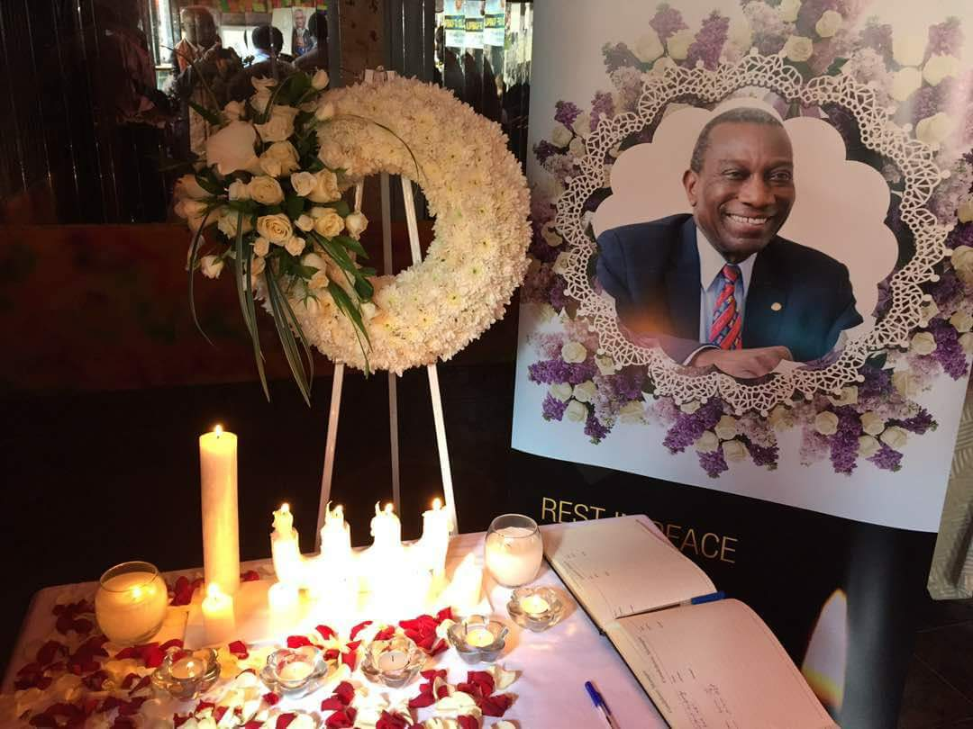 Mourners pay tribute to Sam Owori, the Rotary International President-elect at Grand Imperial Hotel in Kampala. Courtesy photo.