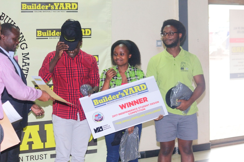 The team from Uganda Martyrs University posing with their cash prize. Courtesy photo.