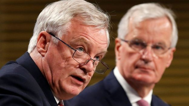 Brexit Secretary David Davis (left) and the EU Commission's Michel Barnier are leading the negotiations for the two sides. BBC photo.