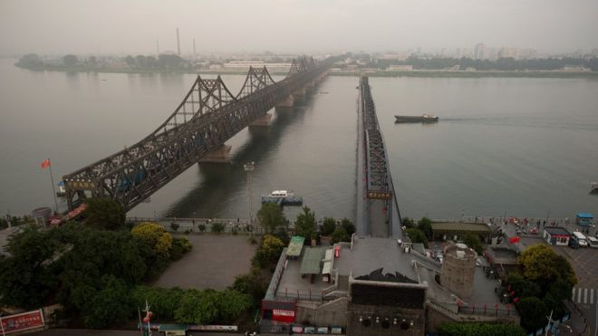 Bridge over the Yalu river where most goods cross between the two countries. BBC photo.