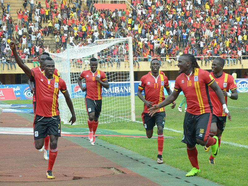 Okwi wheels away in celebration after scoring the priceless goal against Egypt. Shaban Lubega.