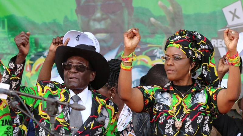Grace Mugabe and her husband, the President, at a past political event in Zimbabwe. Agency picture.
