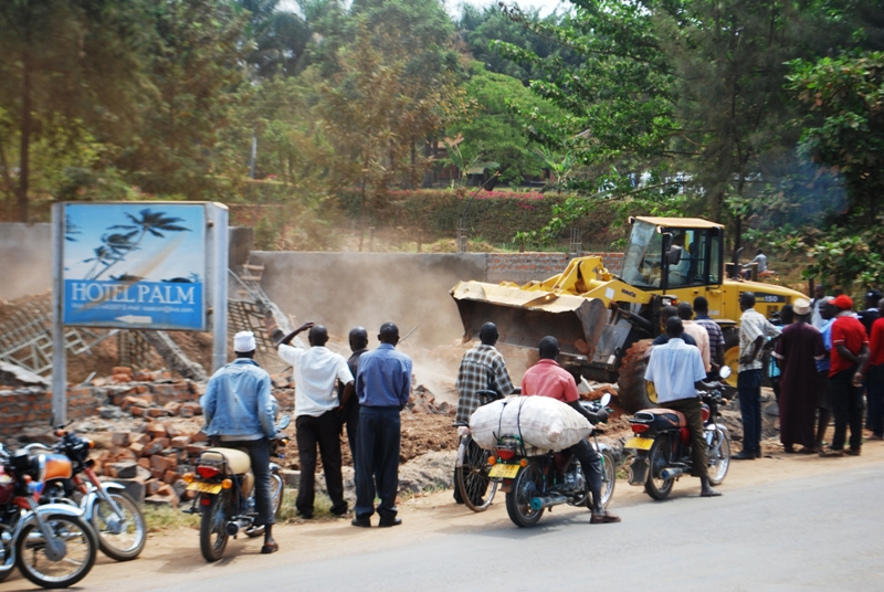 Illegal demolition of some buildings is said to be supervised by police. PHOTO DAVID ODUUT