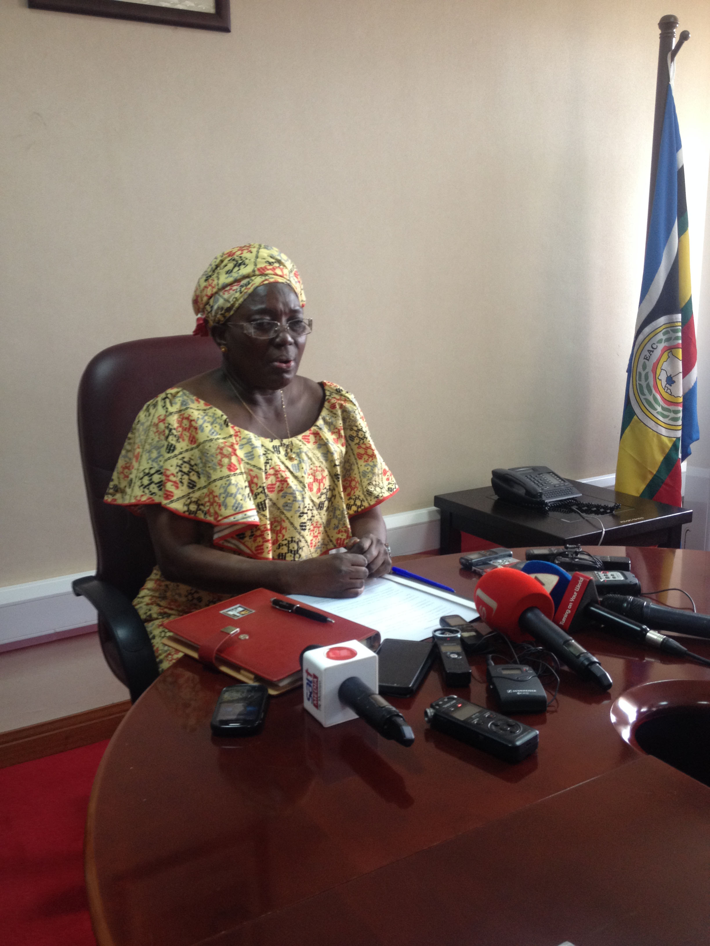 Speaker Kadaga before journalists at Parliament today. Photo by Beatrice Leni.