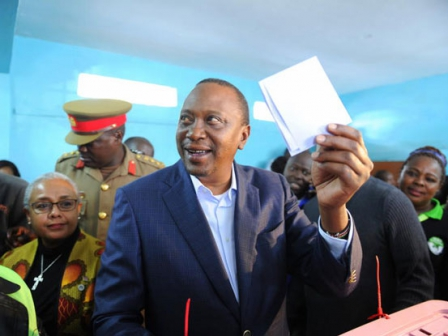 Jubilee Party presidential candidate Kenyatta cast his vote at the Mutomo primary school in Gatundu Constituency. Read more at: https://www.standardmedia.co.ke/article/2001250696/in-pictures-kenyan-presidential-candidates-cast-their-ballot
