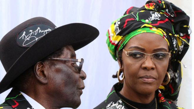 Zimbabwe's leader Robert Mugabe and his wife, Grace Mugabe at a State function. Reuters picture.