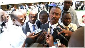 Maj. Gen. Muntu speaks to the press at an earlier party function. Net picture.