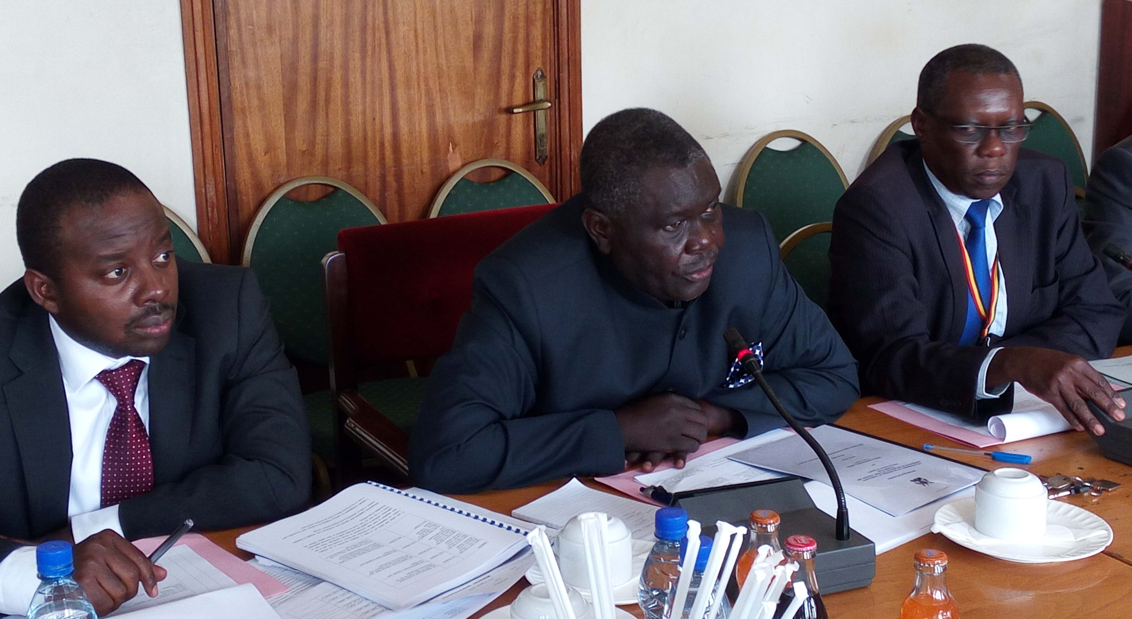 Trade ministry permanent secretary Onen (centre) appearing before PAC. Photo by Vincent. Kasozi