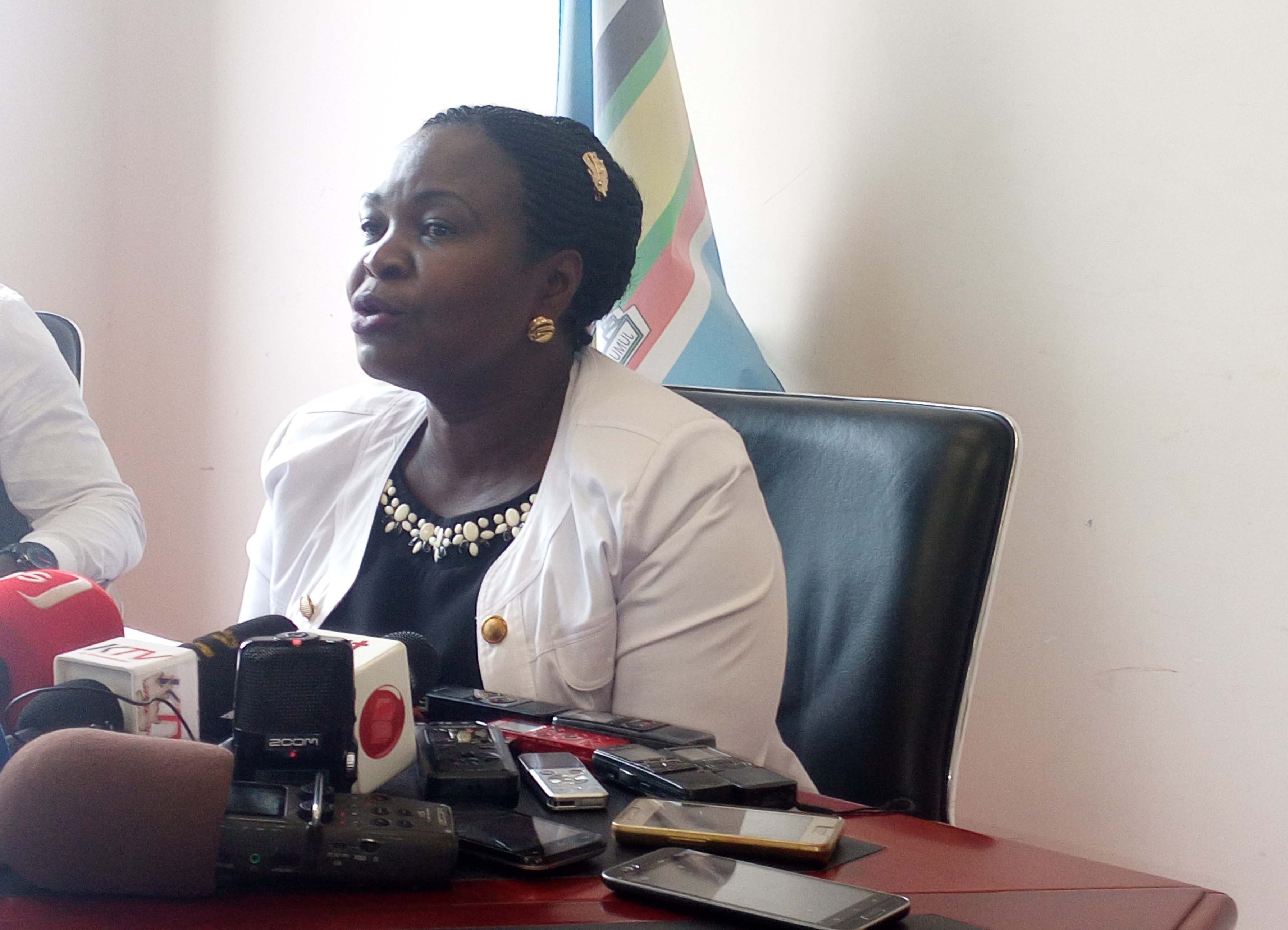 Government chief whip Nankabirwa speaking to journalists in Kampala on Thursday. Photo by Vincent Kasozi
