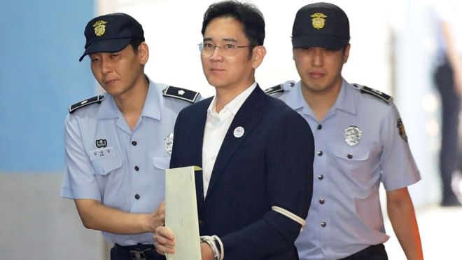 Lee Jae-yong arriving at the court in Seoul ahead of his sentencing. AFP picture.