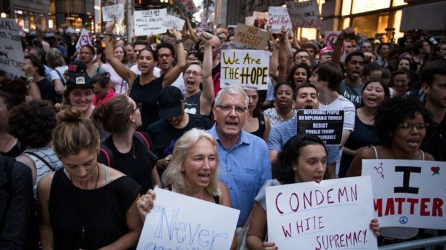 Americans protesting rise of alt-right extremism. BBC photo.