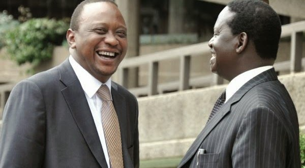 President Kenyatta and Raila during happier times. Net picture.