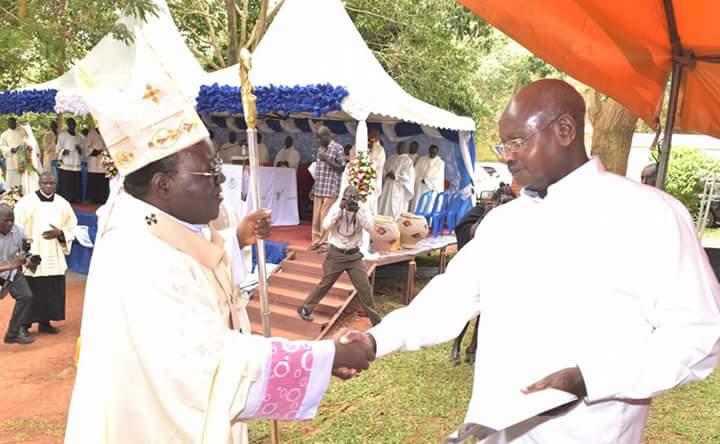 Museveni greets Archbishop Cyprian Kizito Lwanga