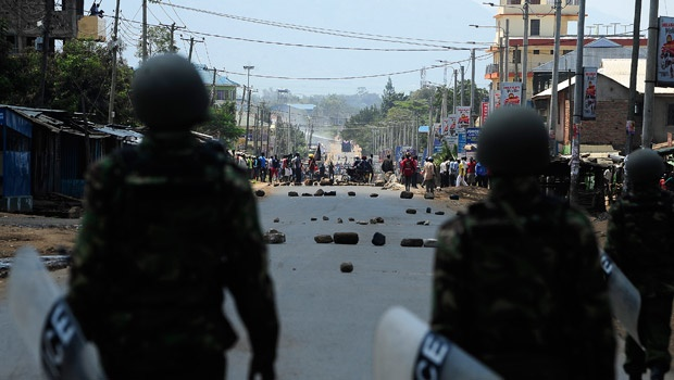 Protesters in NASA stronghold of Kisumu on election day. StandardDigital picture