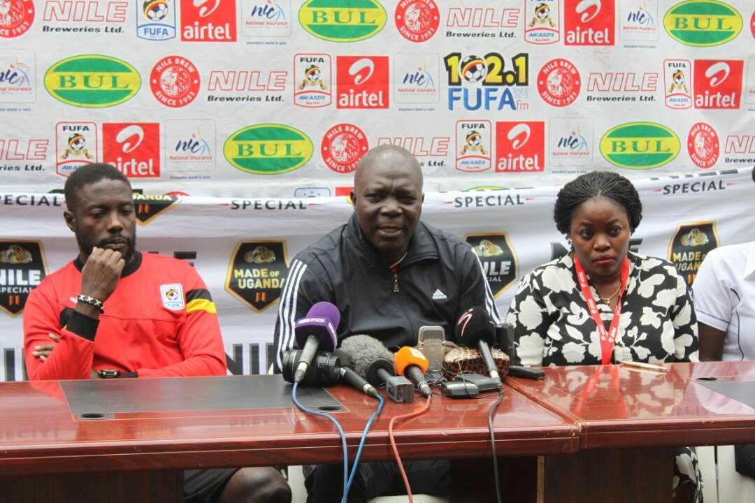 Cranes coach Moses Basena addresses journalists