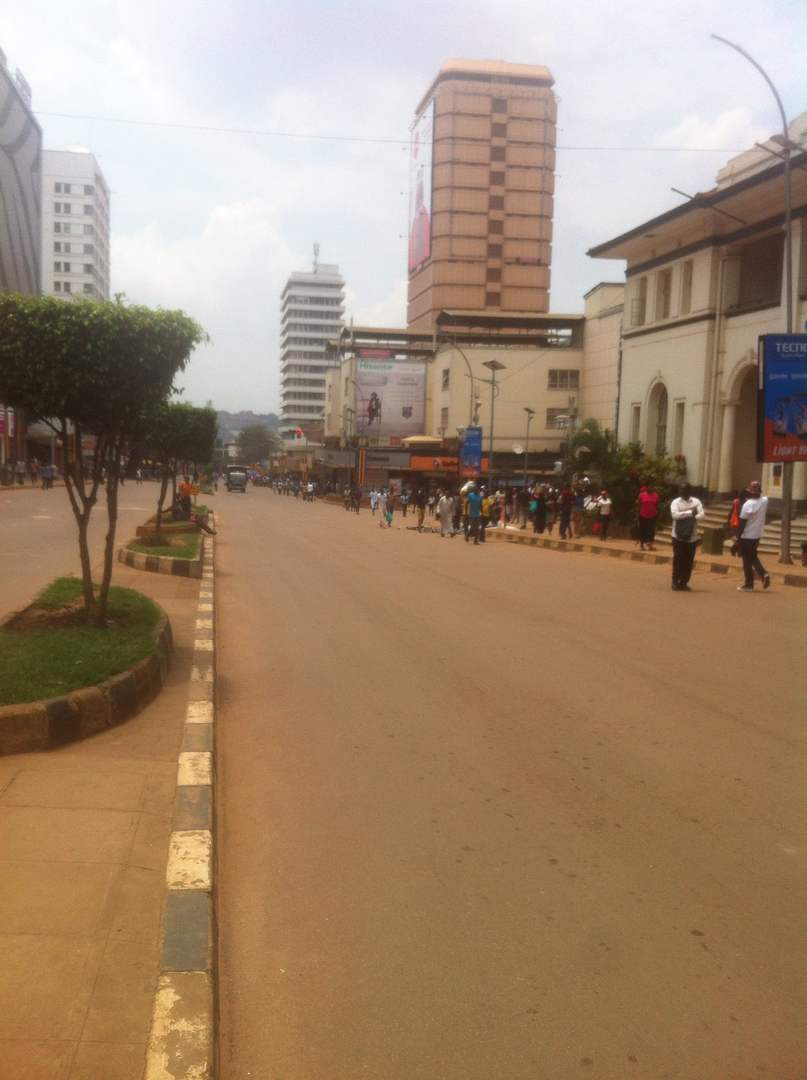 A picture showing a deserted city centre after motorists were blocked from entering the central business district. Courtesy photo.