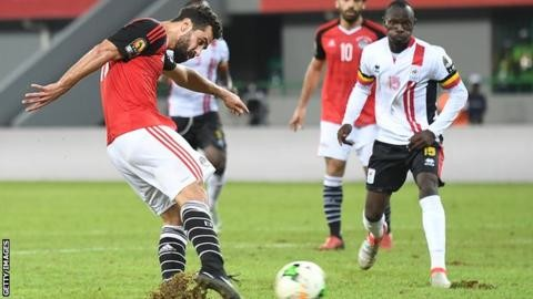 Godfery Walusimbi aganist Egypt at AFCON 2017