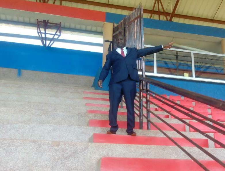 Lawrence Mulindwa showing the press part of the stadium which was vanderlised.