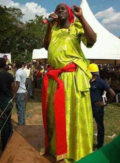 NRM candidate lures voters during one of her rallies. Courtesy photo.