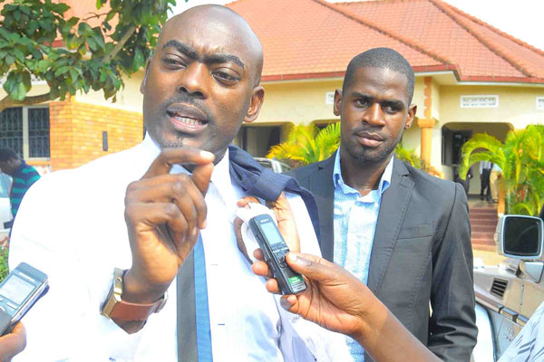 DP vice president Mukasa Mbidde and party secretary general Gerald Siranda are under police custody. Courtesy photo.