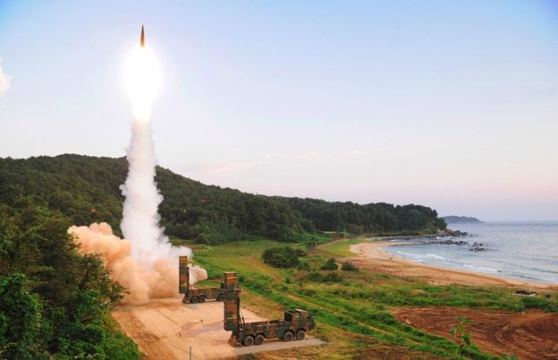 South Korea's missile system firing Hyunmu-2 missile into the East Sea from an undisclosed location on September 4 during a live-fire exercise simulating an attack on North Korea's nuclear site. AFP/Getty Images photo.
