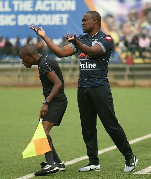 Proline head coach Mujibu Ksaule giving out instructions to his players