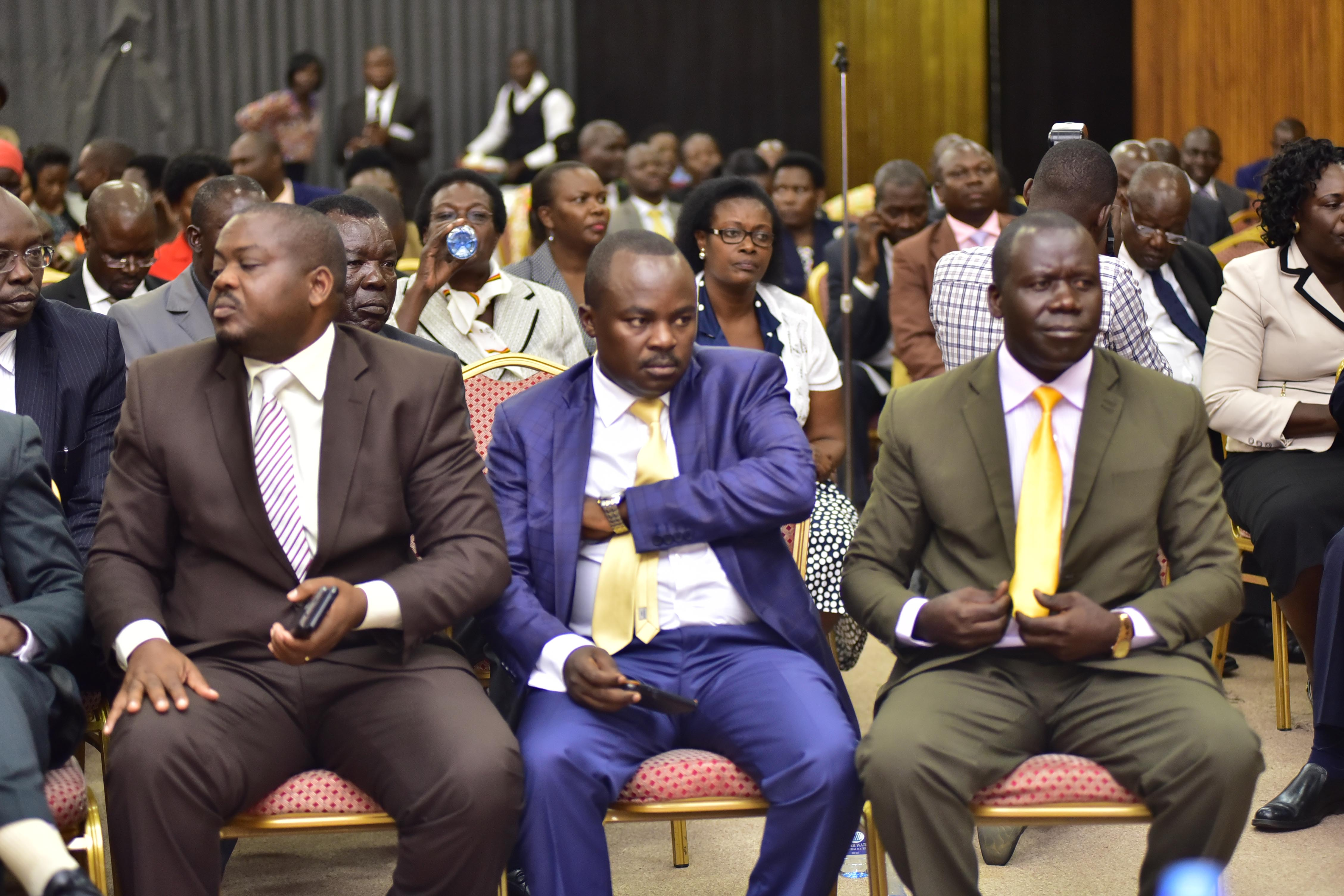 NRM members of Parliament inside the conference hall where they decided to back Museveni's suspected wishes to run for office again in 2021. Photo by Beatrice Leni.