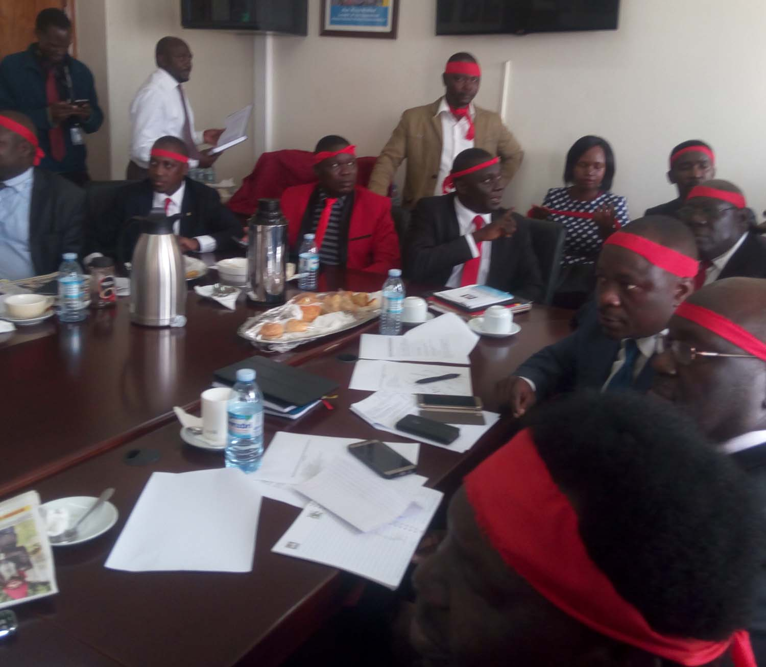 Opposition MPs in the LOP's board room strategising for today's plenary sitting. Courtesy photo.