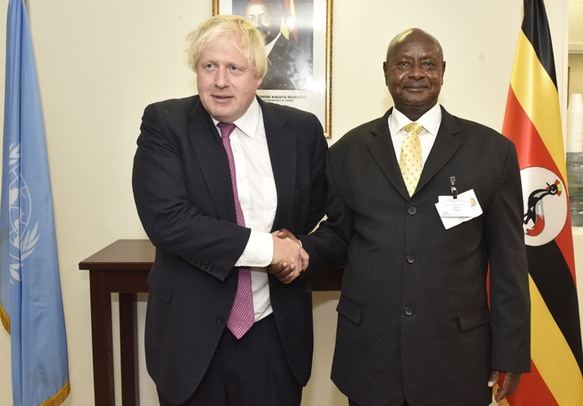 President Museveni poses for a photo with UK Foreign Secretary Boris Johnson during a meeting in New York City yesterday Monday Sept 18, 2017